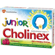 Cholinex Junior, pastylki do ssania, smak malinowy