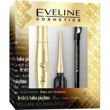Eveline, Volume Celebrities tusz do rzęs + eyeliner + kredka do oczu z temperówką, zestaw