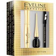 Eveline, Volume Celebrities tusz do rzęs + eyeliner + kredka do oczu z temperówką, exclusive edition, zestaw
