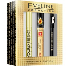 Eveline Volumix Fiberlash tusz do rzęs + serum do rzęs + kredka do oczu, exclusive edition, zestaw