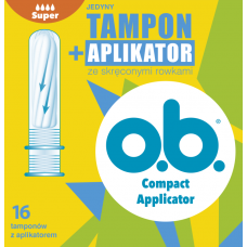 Tampony OB Compact Applicator, Curved Grooves, super, 16 sztuk