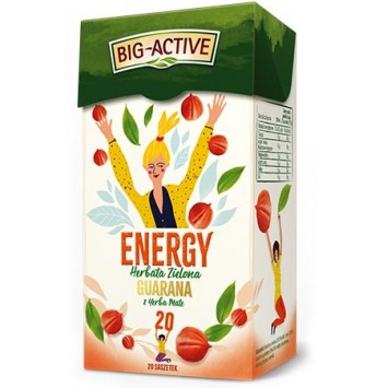 Herbata zielona Guarana z Yerba Mate, Energy, Big-Active, 20 saszetek